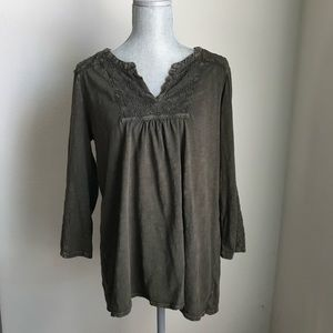 Boho Olive Green Blouse